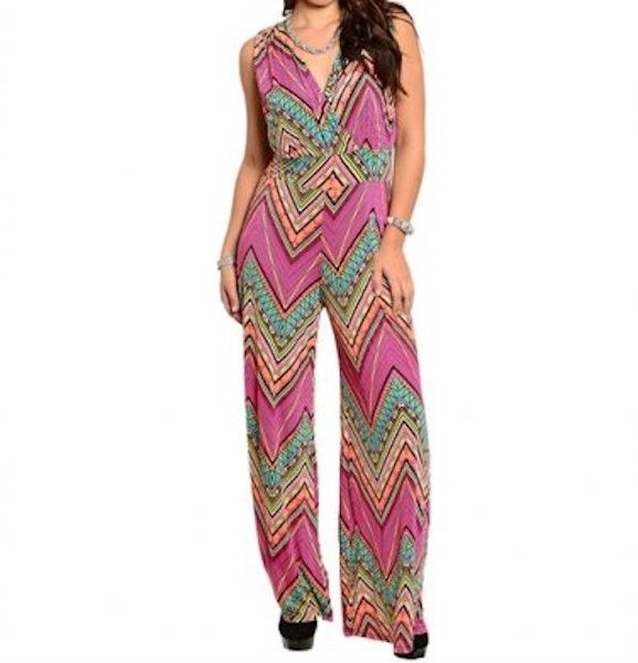 Plus Size Chevron Zig Zag Sleeveless Mix Print Jumpsuit