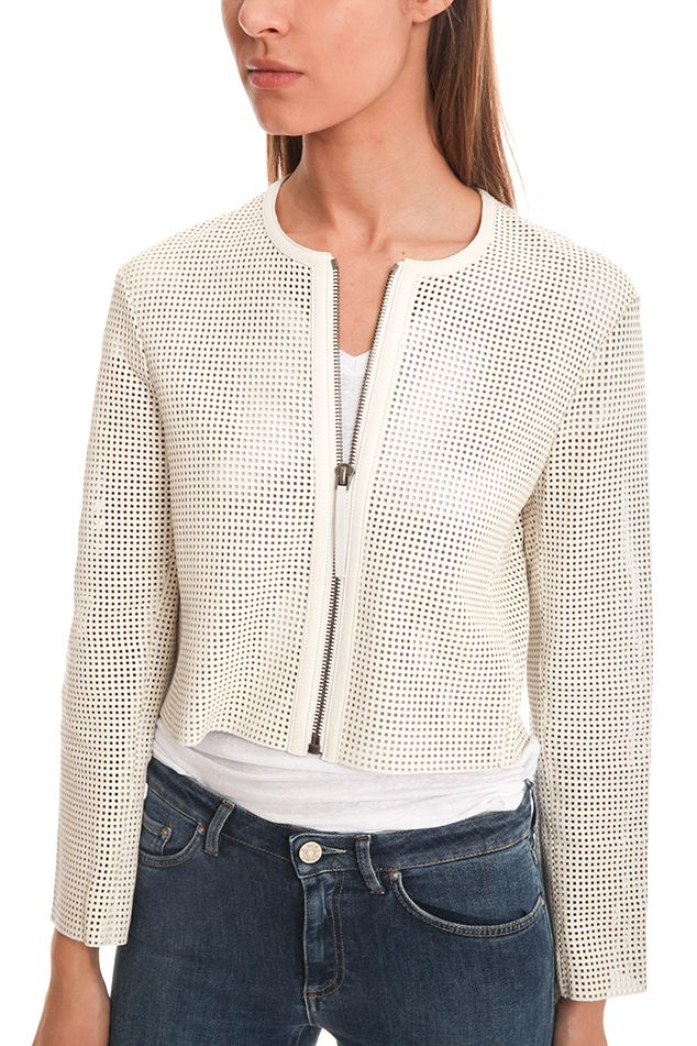Helmut Lang Perforated Leather Jacket | Blue&Cream