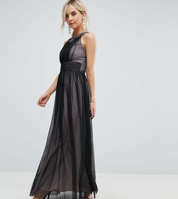Little Mistress Petite Embellished Top Dotty Mesh Maxi Dress - Black