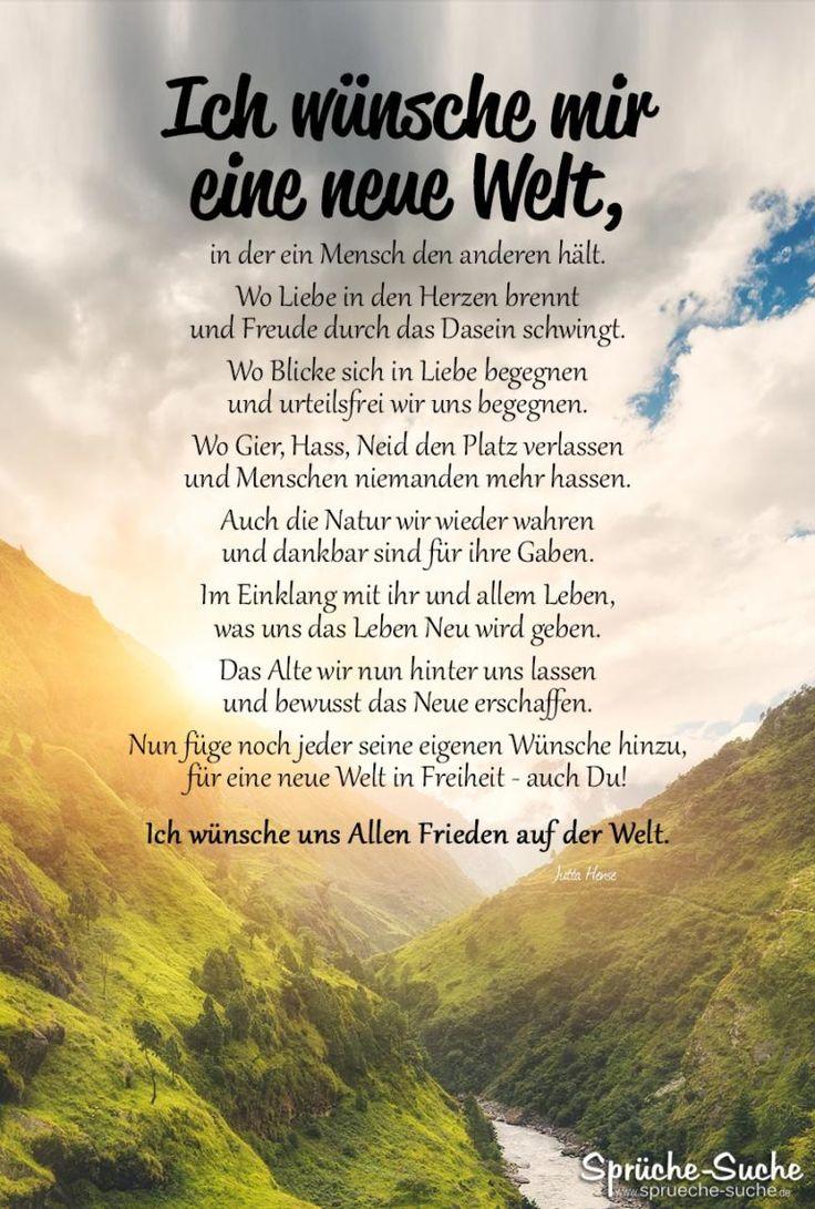 Ich wünsche uns Allen Frieden auf der Welt - Gedicht von