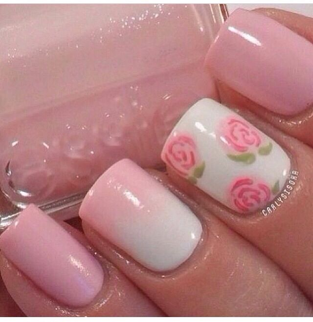 Pink floral ombre nails nailart