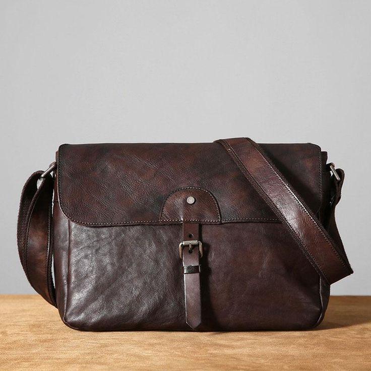 Handmade Top Grain Cow Leather Messenger Bag For School