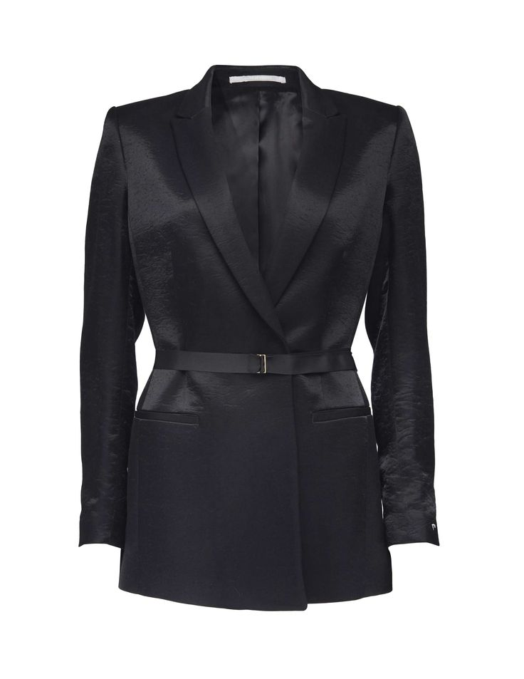 Caiss blazer - Women's black blazer in soft viscose-blend. Features concealed button closure at front with tie grosgrain belt with metal endings. Sharply cut shoulder. Fully lined. Slim fit. Below-hip length.
