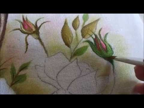 Pintura em tecido de botão de rosa - Graça Tristão (nível igual ao meu i...