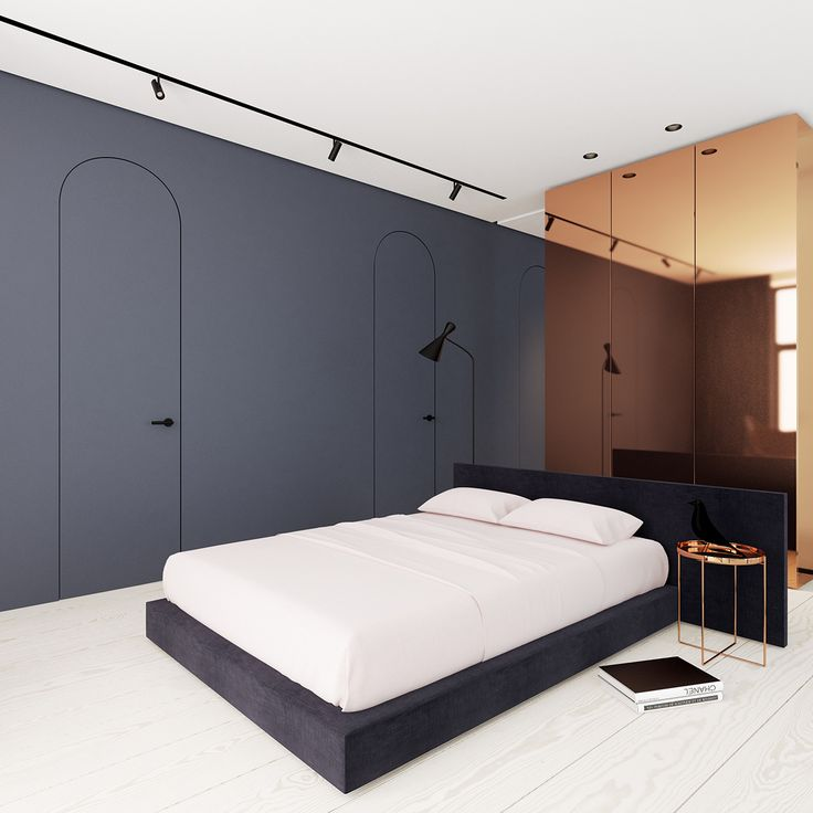 Beautiful, minimal bedroom with muted colors and limited decor. FontanB in Kiev, Ukraine. Designed by Emil Dervish.