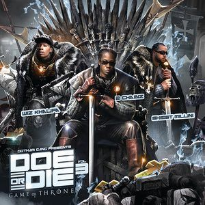 Gotham Gang presents Wiz Khalifa, 2 Chainz and Shiest Millini - Doe or Die Vol. 3 - Games Of Thrones – Design by Skrilla. If you, like us, love hiphop and Game of Thrones this cover is as good as it gets. 2 Chainz as Ned Stark and Wiz Kalifa and Shiest Millini as the Stark brothers. A great example of how mixtapes align themselves with other pop culture phenomenas to get pulling power