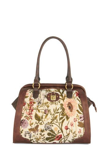 Upholsterer's Outing Bag - Brown, Multi, Vintage Inspired, 20s, 30s, International Designer, Faux Leather, Woven, Floral, Folk Art