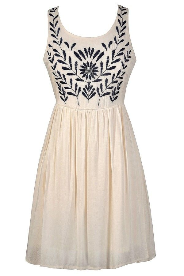 Olive Branch Embroidered Dress in Ivory  www.lilyboutique.com