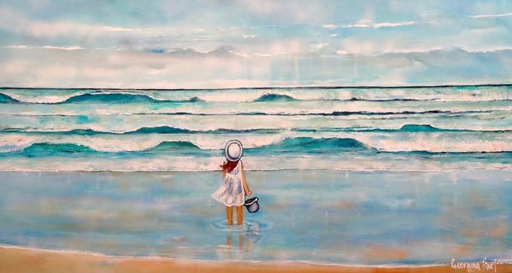 Bucket List 83xm x 153cm (Georgina Hart Gallery)    girl child ocean beach