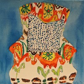 Kate Lewis painting: Ikat And Polka Dots   I really really love this..