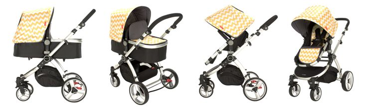 Redsbaby Bounce - The Utlimate All-In-One Stroller/ Pram www.redsbaby.com.au The amazing Lemon Zest chevron stroller from Redsbaby! We LOVE the colour, modern print and the design. Just have to have it!