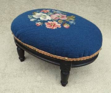 very old foot stools | ... VINTAGE OLD ANTIQUE SMALL NEEDLEPOINT UPHOLSTERY FOOT STOOL FOOTSTOOL