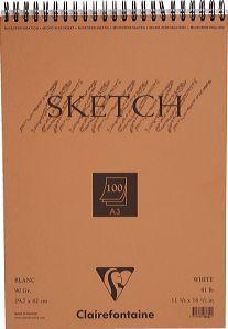 Skizzenblock mit Doppelspirale SKETCH-Papier, DIN A3 29,7x42cm, 100 Blatt, 90g