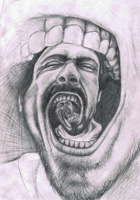 Emphasis- This image shows emphasis by the way it gets larger. It emphasizes to me how when you scream it echos. From the middle of the image it starts off small then gradually gets larger.