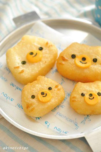 ねこちゃんポテト   じゃがいも、チーズ、海苔   15分でできるキャラ弁 akinoichigoさん