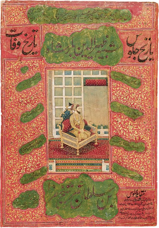 Babur kneeling on a throne