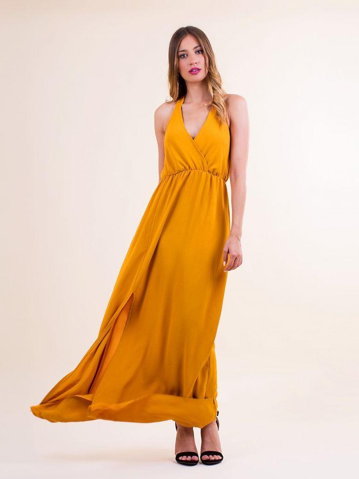 b01ddeb5e7ce F9060 Φόρεμα maxi κρουαζέ με σκίσιμο στο πλάι - Decoro - Γυναικεία ρούχα