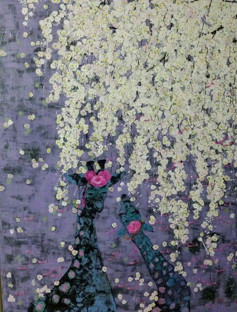 그대있어 좋은 날/mixed media  기린. 벚꽃.봄.김민정.두요김민정 김민정화가.김민정서양화가,예술,그림.꽃