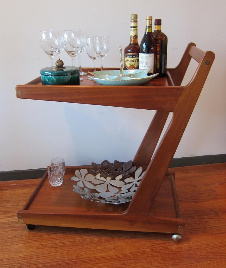 Danish Teak Bar or Serving Cart.