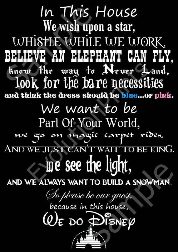 In This House We Do Disney A3 poster by EvolutionPrints on Etsy