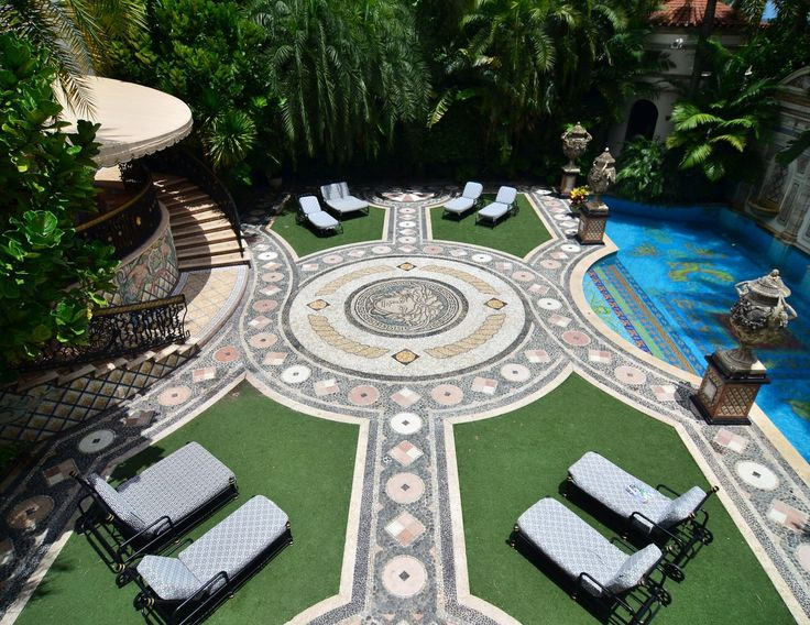 Gianni Versace's Miami Villa and final home ~ He added mosaics, a pool lined with gold, and 6,100 square feet with a new south wing. Versace originally bought the home in 1992 and spent $33 million renovating it.   ᘡղbᘠ