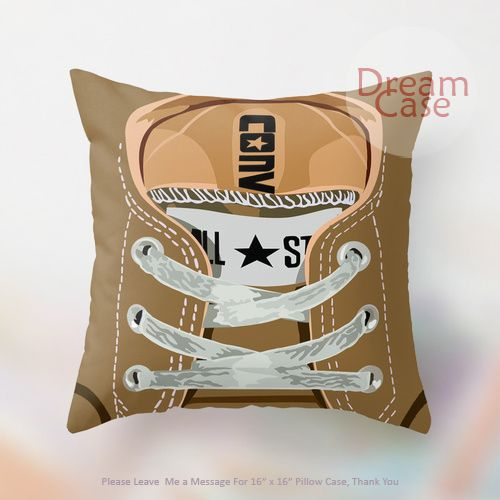 converse brown casual shoes double side - Pillow Case 18 x 18 - Note for 16 inch