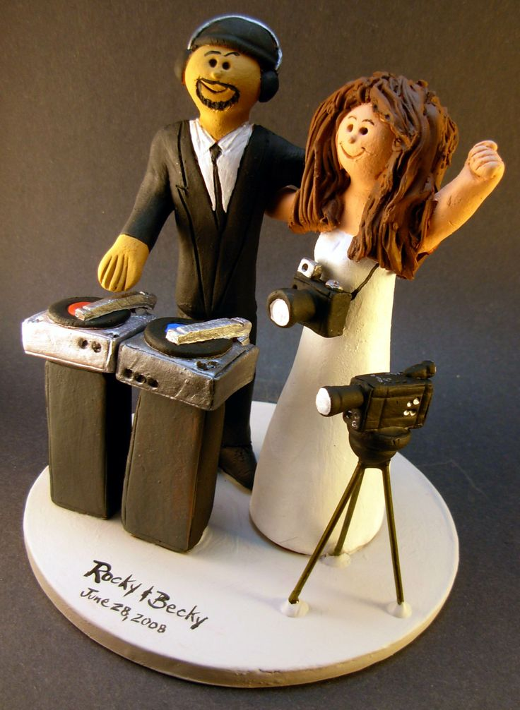 Photographer Marries DJ Wedding Cake Topper http://www.magicmud.com 1 800 231 9814 magicmud@magicmud.com https://twitter.com/caketoppers https://www.facebook.com/PersonalizedWeddingCakeToppers $235 #wedding #cake #toppers #custom #personalized #Groom #bride #anniversary #birthday#weddingcaketoppers#cake toppers#figurine#gift#wedding cake toppers #disc-jockey#DJ#party#music#mixmaster#DeeJay#Karaoke#discJockey