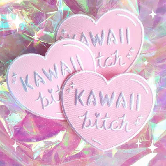 "Kawaii Bitch Heart Iron On Patch. Embroidered pastel heart shaped iron on patch featuring hand drawn typography reading ""kawaii b*tch"". #ad #kawaii #fashion #harajuku #aesthetic"