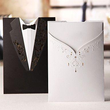convite de casamento vestido de smoking clássico e no lado diferente (conjunto de 50) – BRL R$ 125,07