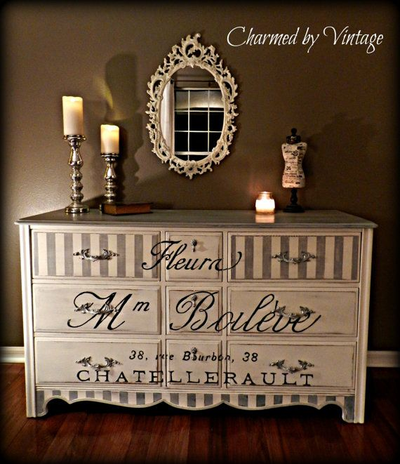 Vintage Paris Grey and White Dresser (RESERVED for CHRISTY)