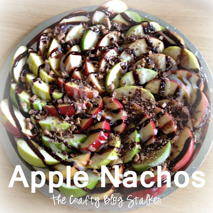 Great party Idea: Apple Nachos - Think of yummy chocolately, carmely apple w/out the stick.
