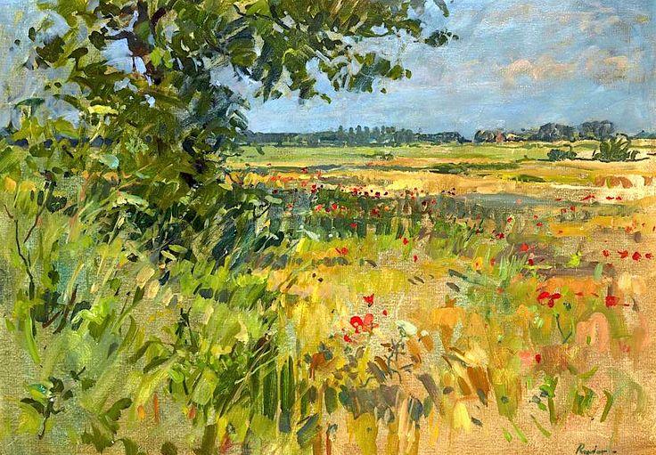SUSAN RYDER (BRITISH B.1945) BARLEY FIELDS AT WALSHAM-LE-WILLOWS