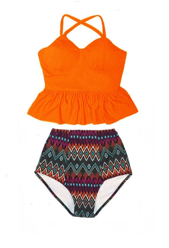 Orange Tankini Long Peplum Top and Tribute Vintage by venderstore
