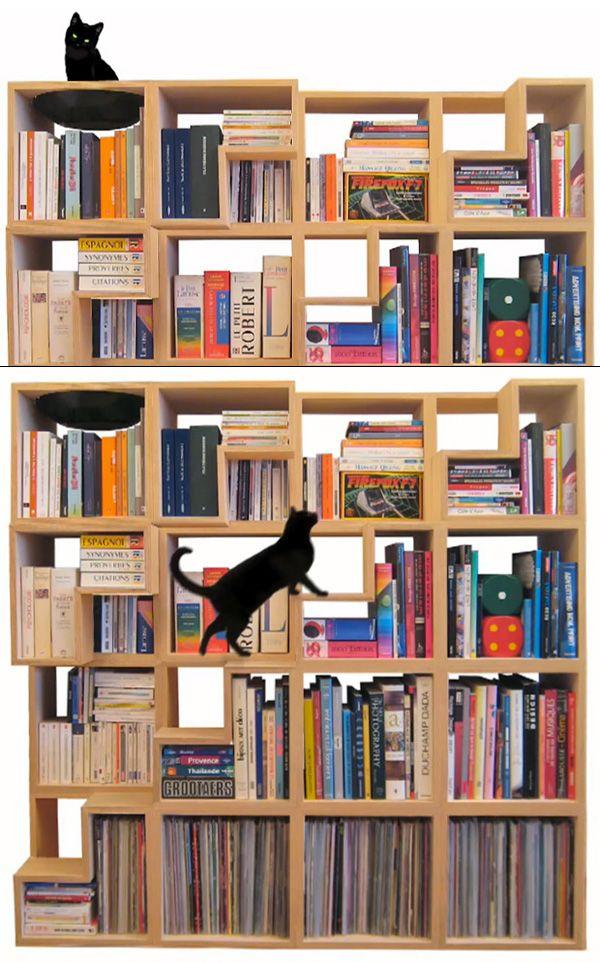100% Cat-Friendly Modular Bookshelf by Corentin DombrechtCat Furniture, Bookshelves, Cat Shelves, Bookcases, Book Shelves, Cat Friends, Furniture Ideas, Cat Libraries, Design