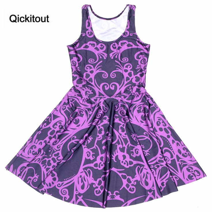 Qickitout  2016  Fashion New Arrival Plus Size Dress Purple Scissor-cut Digital Print  Dress Sleeveles Beach DRESS vestidos