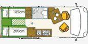 Grundriss JOKO-480 - JOKO Wohnmobil Genial gelöste Bett/Tisch Kombination!