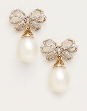 pearl and diamond bow drop earrings | http://www.thebay.com/webapp/wcs/stores/servlet/en/thebay/jewellery-accessories/fine-jewellery-earrings/10kt-yg-bow-ear-w-fw-pearls-and-diamonds-0008-rw70723pf2hb--24