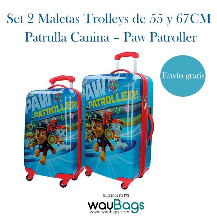 """Set de viaje compuesto por 2 originales y prácticas Maletas Trolley Patrulla Canina """"Paw Patroller"""" (una de ellas apta para cabina).Con 4 ruedas que giran en 360º, están totalmente forradas en su interior y disponen de varios bolsillos y goma elástica para la ropa. @waubags #patrullacanina #pawpatroller #maletas #trolley #infantil #viaje #setdeviaje #cabina #waubags"""