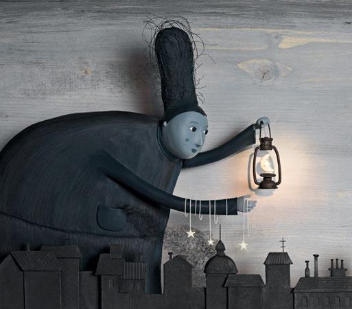 """""""C'era la luna piena, di quelle che trasformano il mondo in fantasma, quando tutte le cose, le animate e le inanimate, stanno sussurrando misteriose rivelazioni, ma ciascuna dicendo la sua, e tutte discordanti, perciò non riusciamo a capire e patiamo quest'angoscia di essere sul punto di conoscerle e di non conoscerle."""" (Josè Saramago -  Illustration Irma Gruenholz )"""