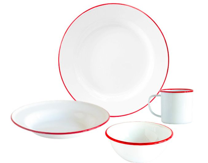 Enamelware dish sets for four from Houzz.com. Neat! http://www.houzz.com/photos/26598344/Enamelware-Dinnerware-Set-16-Piece-White-and-Red-Rim-traditional-dinnerware-sets