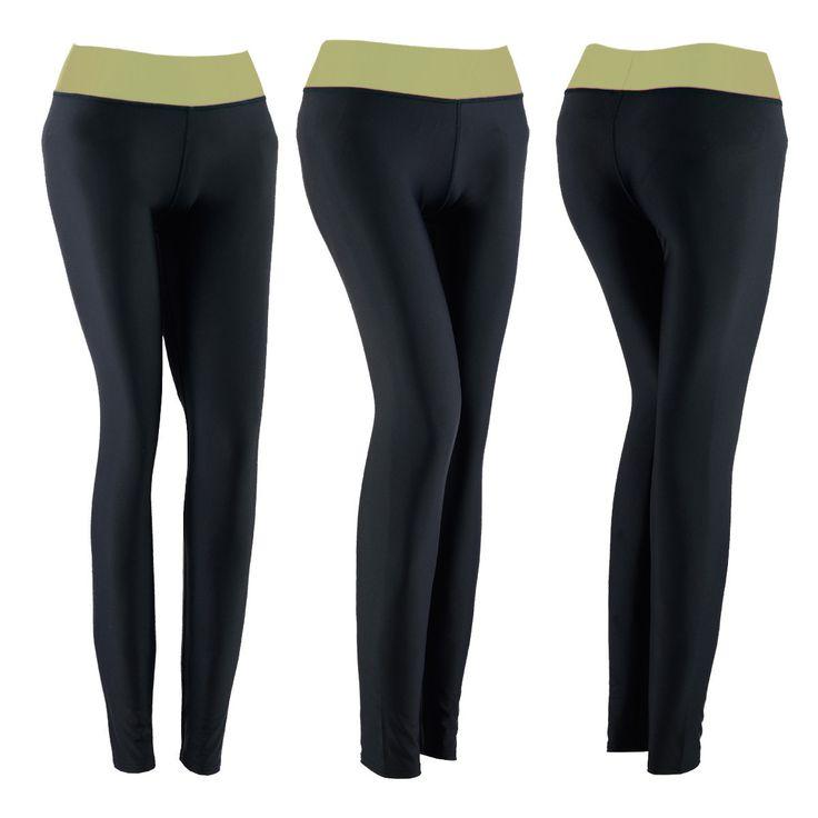 SPG Women YOGA Pants Gym Leggings Stretch Athletic Trousers Light Yellow