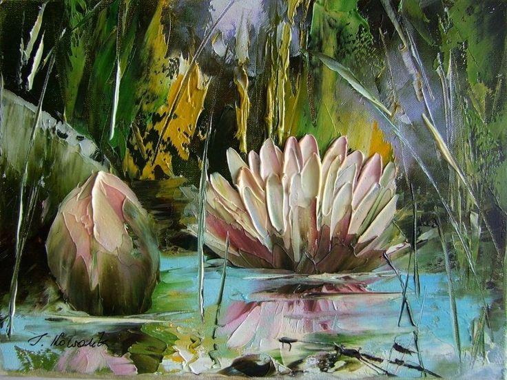 Water lilies Impression Impasto Original Oil Painting Europe Artist Lake Flowers #ImpressionismImpasto