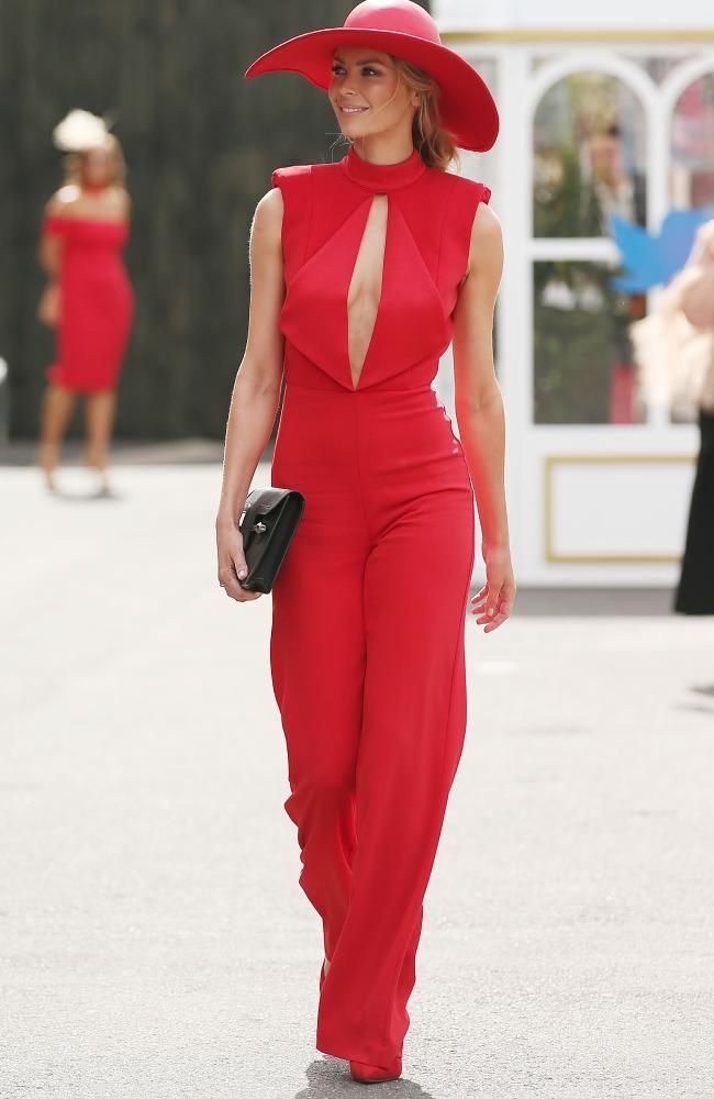 Jennifer Hawkins looking red hot at the Melbourne Cup Carnival. Picture: Scott Barbour/Getty Images.