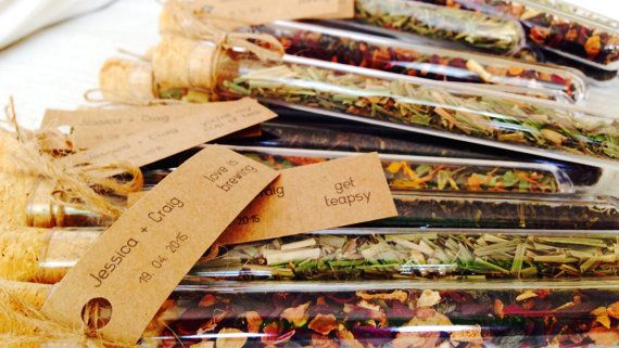 wedding favor ideas - Custom Wedding Favor Bonbonniere - Test Tube with Loose Leaf Tea