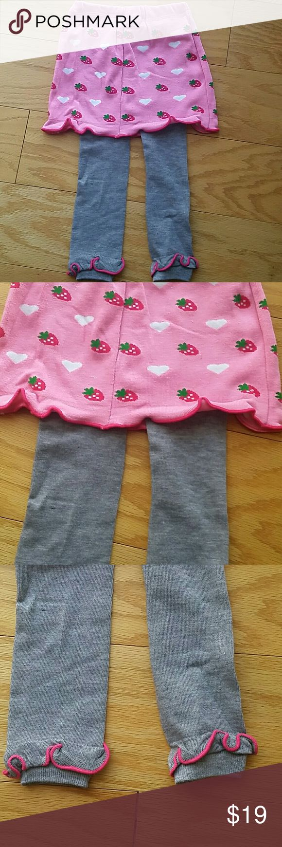 NWT Strawberries Skort Adorable pink and gray skort with strawberries and hearts. This item is brand new and never used Bottoms Skorts
