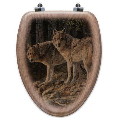 WGI GALLERY Shades of Grey Oak Elongated Toilet Seat