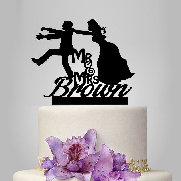 Lustig Hochzeit Cake Topper, personalisieren Monogramm Cake Topper, Herr und Frau Cake Topper, Bräutigam Braut Silhouette Cake Topper, Namen Cake topper by walldecal76 on Etsy