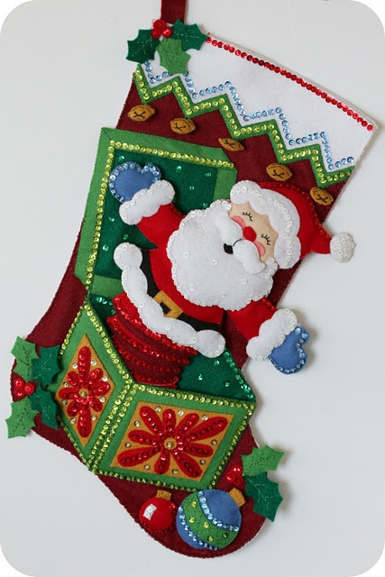 Bucilla Felt Stocking Kit | Pop up Santa Claus. MerryStockings has it in stock.