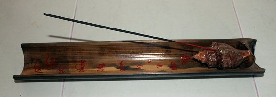 Bamboo Incense Holder / Burner Set with big Conch Shell by Malatichan