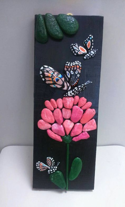 Pebble Art Butterfly and Pink Flower Stone Art by StefArtNatural